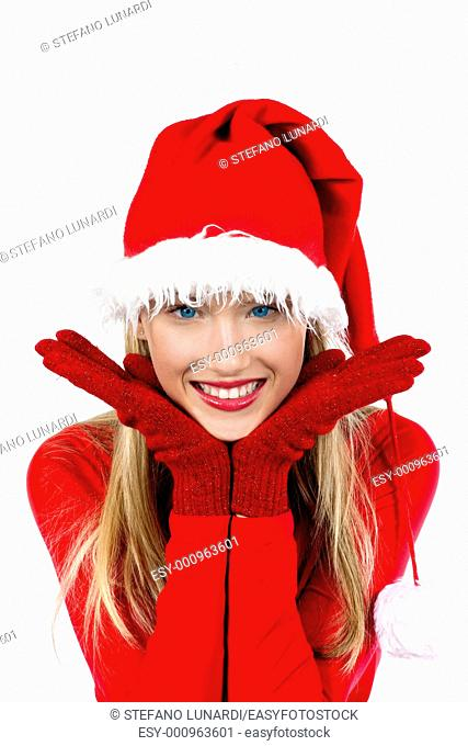 Portrait of beautiful girl wearing Santa Claus hat on white background