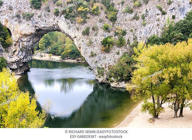 Pont d'Arc with Ardeche river, Rhone-Alpes, France