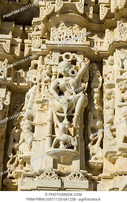 Carving on a temple, Sun Temple, Ranakpur, Pali District, Udaipur, Rajasthan, India