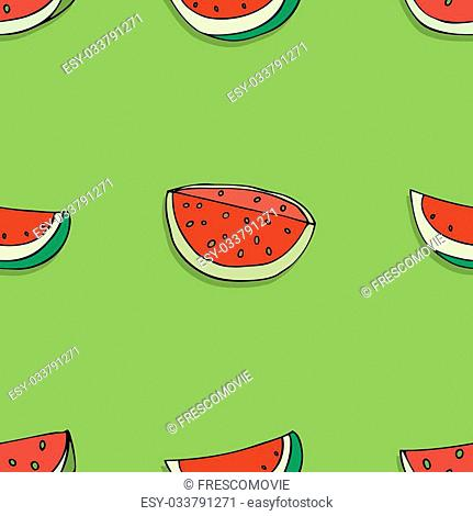Vector Seamless Pattern of Sketch Fruits with shadow