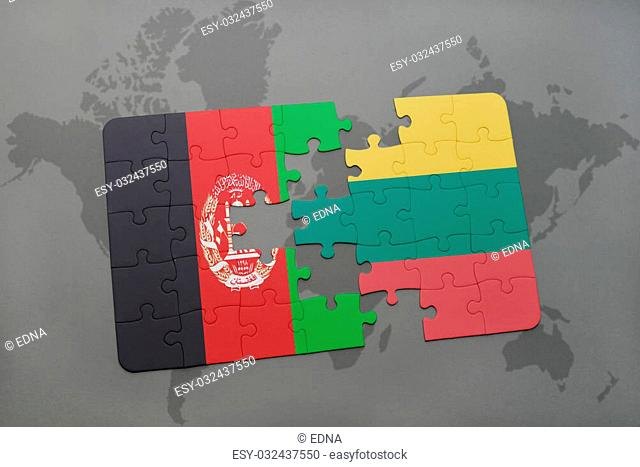 puzzle with the national flag of afghanistan and lithuania on a world map background. 3D illustration
