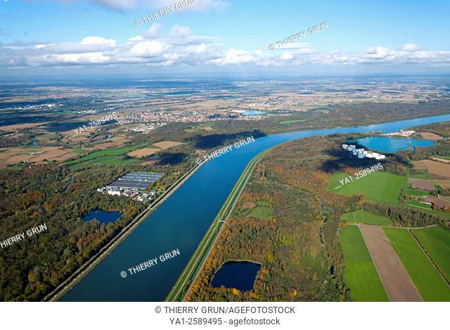 Germany, Baden-Wurttemberg, Auenheim, Rhine river marking border with France on left and Germany on right aerial view