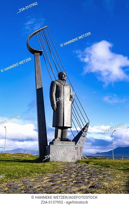 Einar Benediktsson's statue, by Ã. smundur Sveinsson, near the Hofdi House in Reykjavic, Iceland