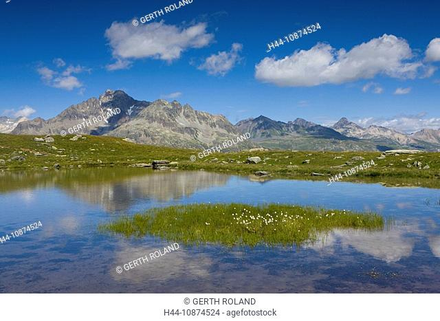 Lejin S-chaglia, Switzerland, canton Graubünden, Grisons, Engadin, lake, water, island, isle, cotton grasses, mountains, clouds, reflection
