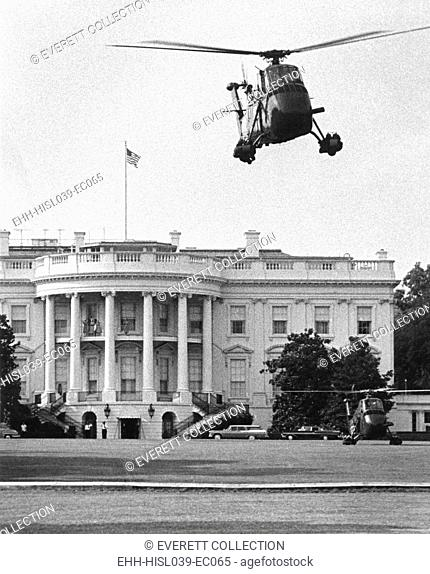 Presidential helicopters at the White House. July 3, 1958. Eisenhower suggested and the Secret Service approved the new mode of presidential transportation