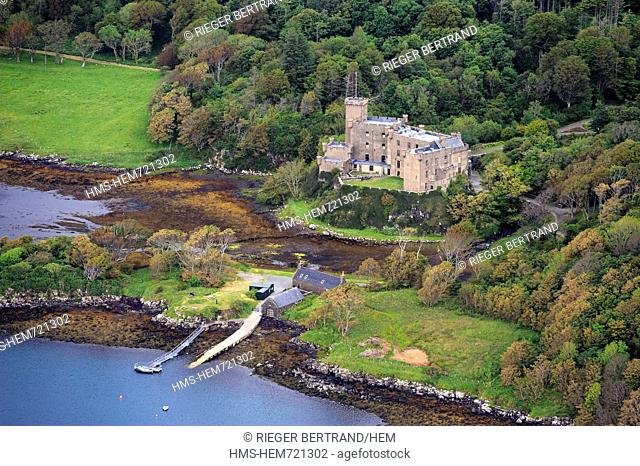 United Kingdom, Scotland, Highland, Inner Hebrides, Isle of Skye, Dunvegan Castle from the MacLeod clan aerial view