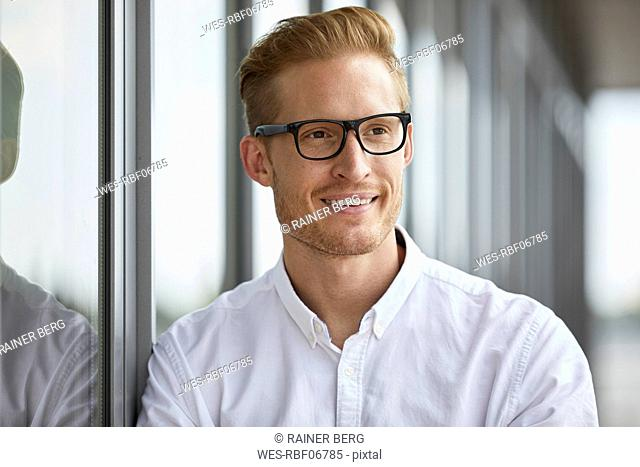 Portrait of smiling businessman leaning against window