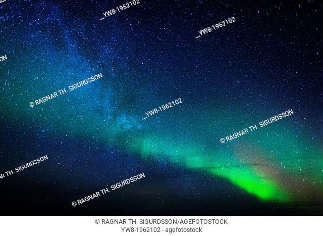 Aurora Borealis or Northern lights with the Milky way, Iceland