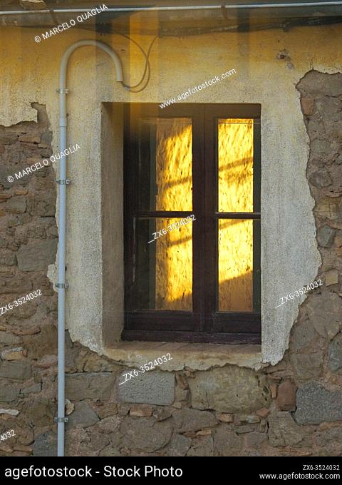 Window seen from my window. I stay at home. Confinement period by Covid19. Lluçanès region, Barcelona province, Catalonia, Spain