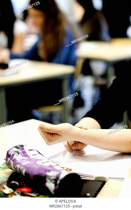Cropped image of female student touching hand in classroom