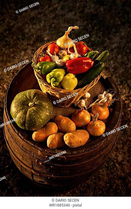 Fresh Vegetables In Baskets, Croatia, Slavonia, Europe