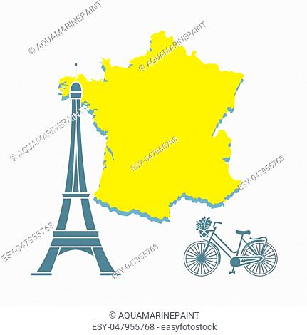 Map of France, famous tower of Paris, bicycle with a basket of flowers. Travel and leisure