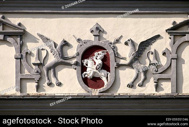 Close-up of top of Gate of Dawn in Vilnius, Lithuania