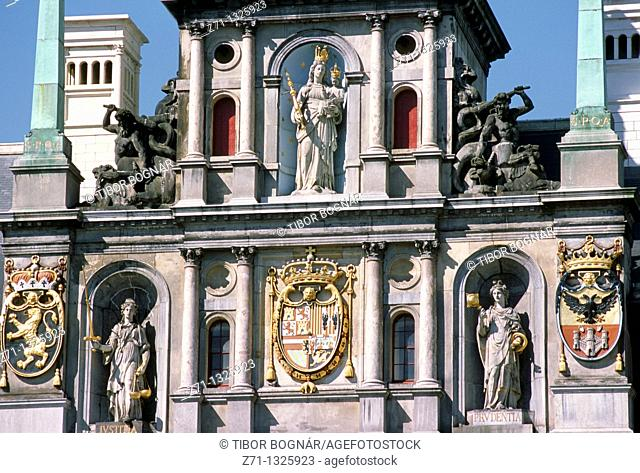 Belgium, Antwerpen, City Hall, architecture detail
