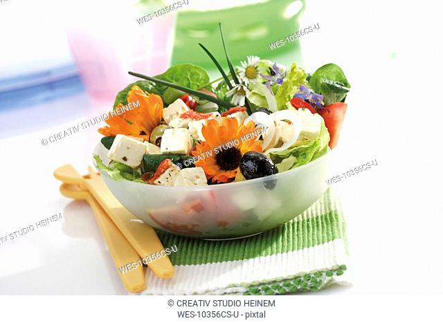 Mixed salad with edible flowers