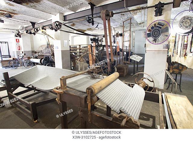 Vintage textile machine, Fabbrica della ruota, ex wool factory Zignone, Vallefredda, Pray Biellese, Biella, Piemonte, Italy, Europe