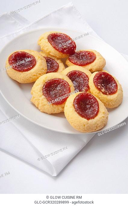 High angle view of jam filled cookies