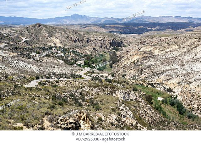 Molinos del Rio Aguas repopulated village in gypsum karst of Sorbas. Almeria province, Andalucia, Spain