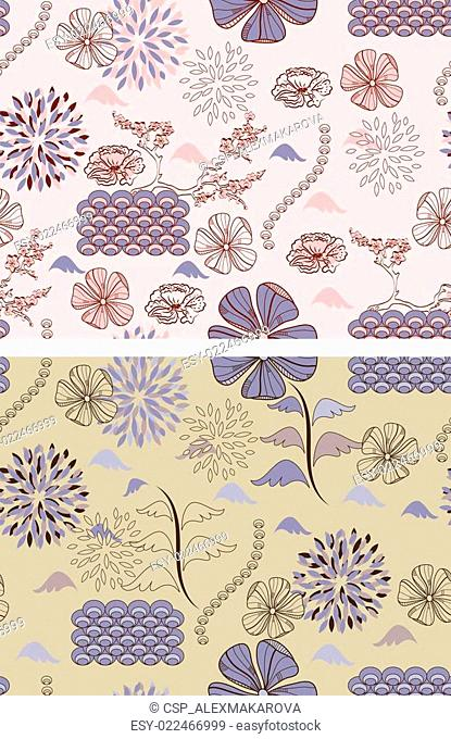 japanese style seamless spring floral patterns