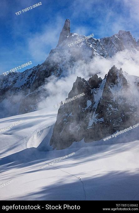 France, Haute-Savoie, Chamonix, Mont Blanc, Glacier in Mont Blanc Massif