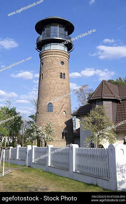 29 April 2020, Brandenburg, Bad Saarow: The former water tower rises into the sky. It was built in 1906 as a water tower and was shut down many years ago