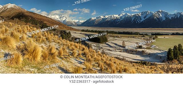 Glenfalloch high country sheep station, panorama after winter snowfall from above Rakaia river, Canterbury