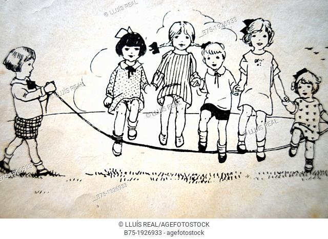 vintage illustration of group of children playing jumping a rope