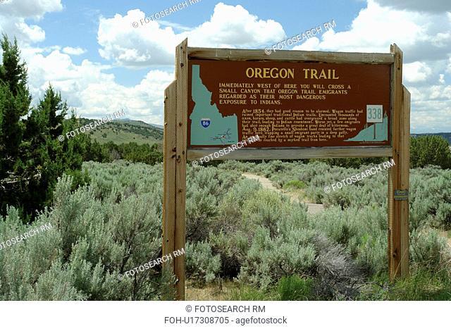 ID, Idaho, Oregon Trail, wooden sign, historical marker