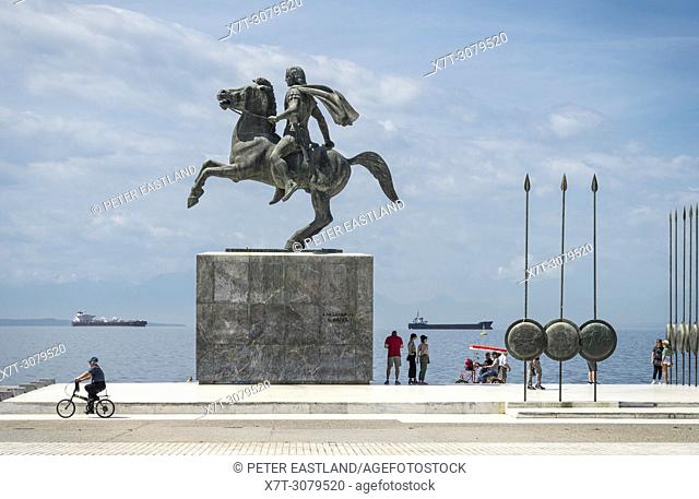 Alexander the Great's statue on Thessaloniki waterfront, Macedonia, Northern Greece