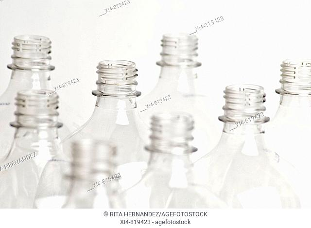 Bunch of clean pet bottes in white background