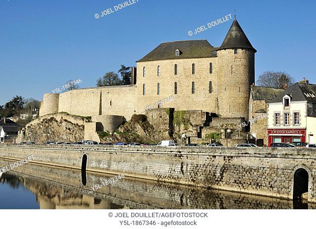 Mayenne city, the castle, carolingian period : eighth century-tenth century, rebuilt at the eleventh century Department of Mayenne, Pays de la Loire