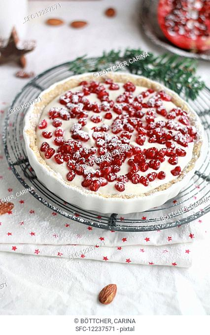 Almond cake with pomegranate and powdered sugar, pine nuts and almonds