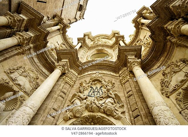Detail of the facade of the cathedral of Valencia, Spain