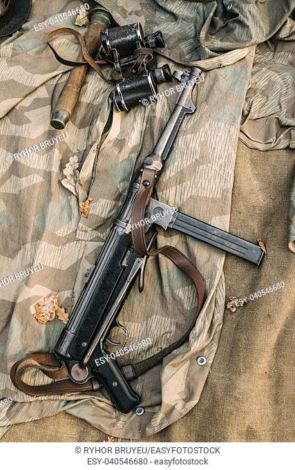 German Military Ammunition - Grenade, Binoculars And Sub-machine Gun Mp 40 Of World War II On Ground