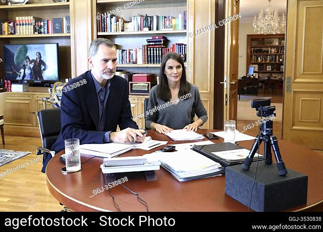 King Felipe VI of Spain, Queen Letizia of Spain attends videoconference an open meeting with representatives of the new creative generation of the Spanish...