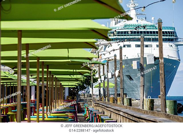 Florida, Key West, Sunset Key, Gulf of Mexico, Sunset Pier, restaurant, bar, pub, tables, umbrellas, colorful, Vision of the Seas, Royal Caribbean Lines, RCL