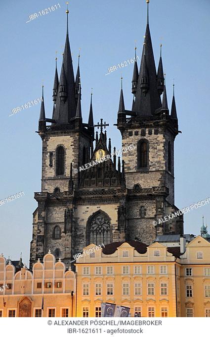 Blue Hour, Tyn Church, Old Town, Prague, Czech Republic, Europe