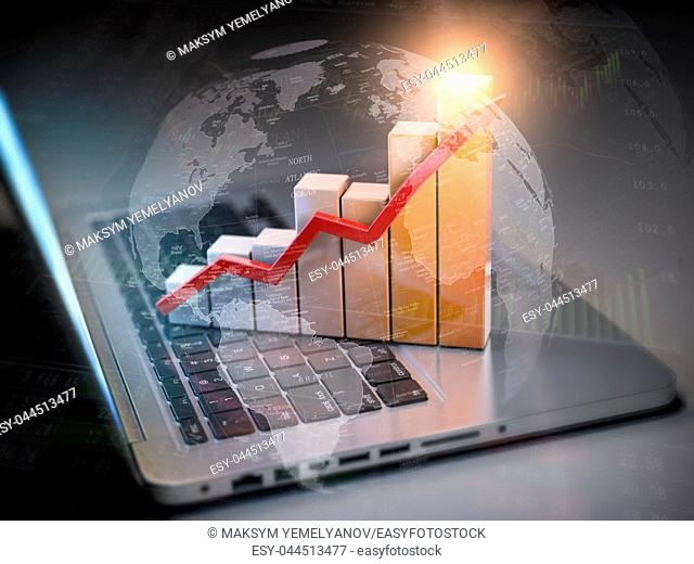 Business graph and diagram on laptop keyboard. New technologies, internet communications business concept. 3d illustration