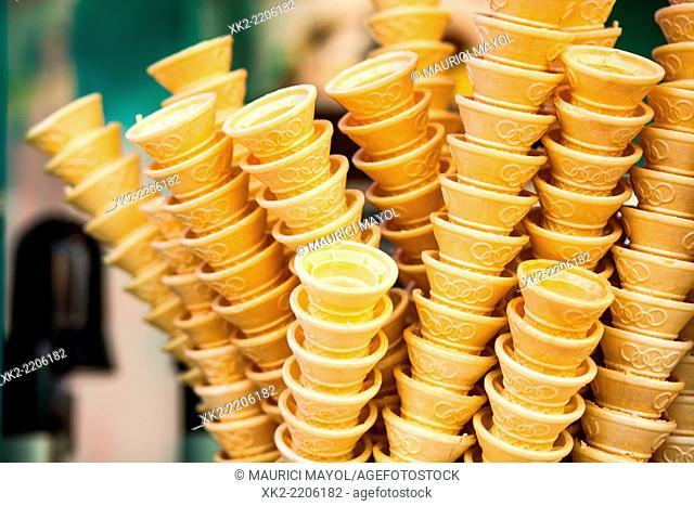 Close up of ice cream cornets