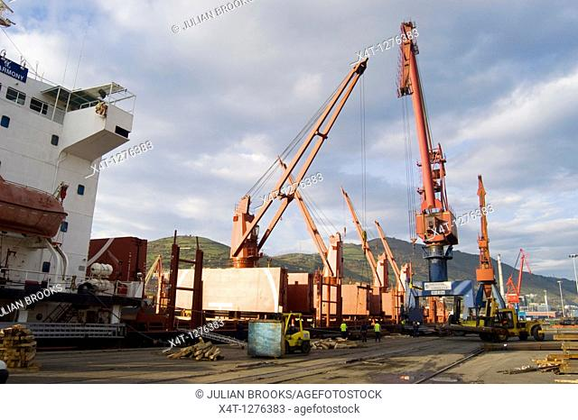 Loading a ship with steel girders bound for Hong Kong at the port of Bilbao, Spain