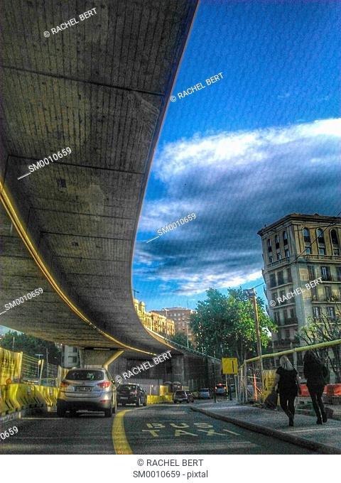 Glories Square, before the demolitiion of the bridge. Barcelona, Catalonia