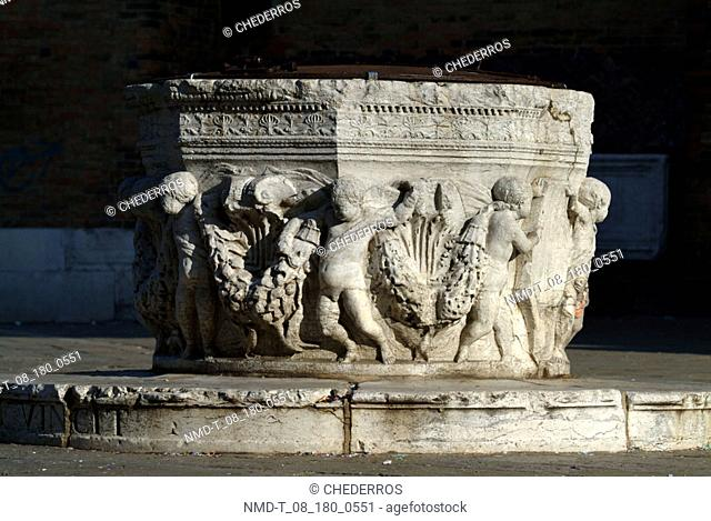 Close-up of statues carved in stone, Venice, Veneto, Italy