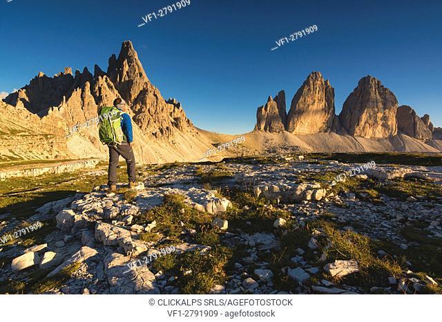 Three Peaks and Mount Paterno at Sunset, Bolzano Province, Trentino Alto Adige, Italy