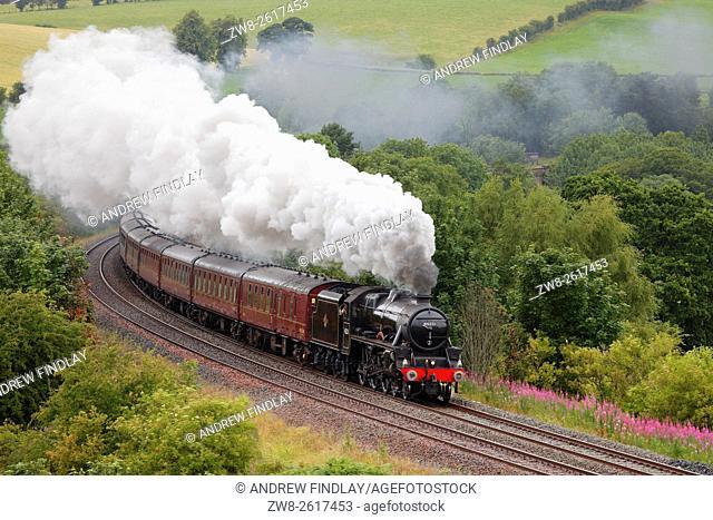 The Sherwood Forester LMS Stanier Class 5 4-6-0 45231, Steam train near Low Baron Wood Farm, Armathwaite, Settle to Carlisle Railway Line, Eden Valley, Cumbria