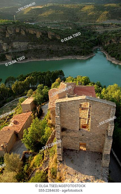 La Baronia Sant Oïsme, view from the old round tower, XI century, la Noguera Pallaresa valley and Àger valley, over Camarasa reservoir, Lleida province