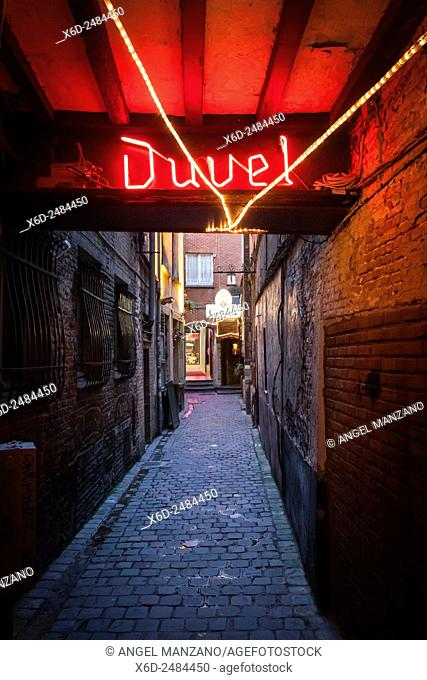 Duvel beer sign in passage in Brussels old town