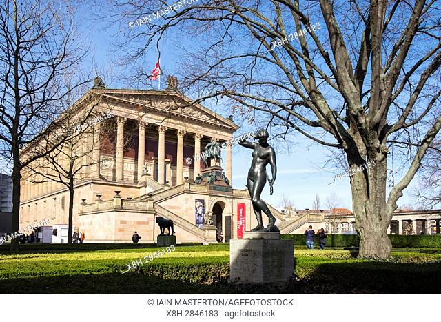 View of Alte Nationalgalerie on Museumsinsel, Museum Island, in Mitte, Berlin Germany