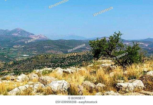 view of vicinities from the hill Mycenae, Greece