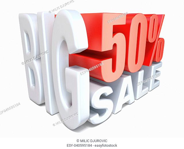 White red big sale sign PERCENT 50 3D render illustration isolated on white background