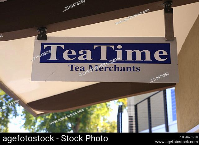 TeaTime Tea Merchants overhead hanging sign in downtown Old Town Scottsdale AZ